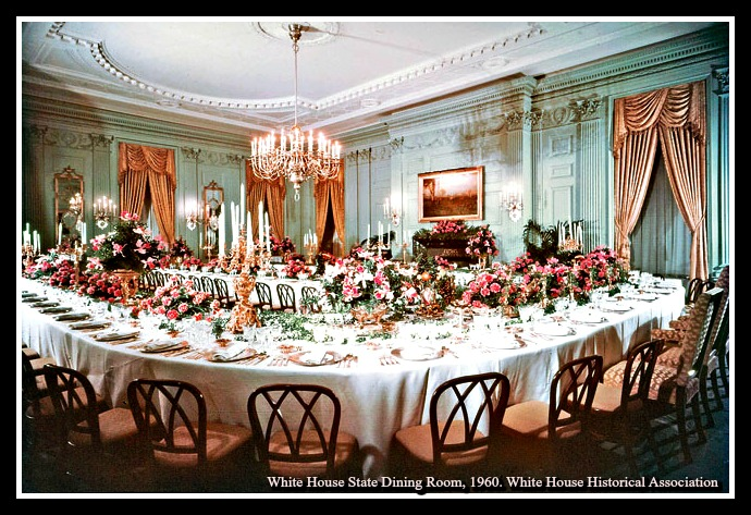 The White House's State Dining Room redecorated after the Truman renovation as it appeared set up in 1960 for a dinner for the king and queen of Denmark. Illustrates WHITEHOUSE-DININGROOM (category l), by Jura Koncius © 2015, The Washington Post. Moved Friday, June 26, 2015. (MUST CREDIT: White House Historical Association)
